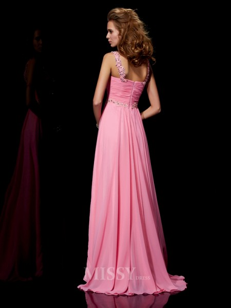 A-Line Straps Sweep Train Chiffon Evening Dress With Lace