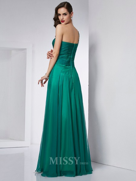 A-Line One-Shoulder Chiffon Floor-Length Evening Dress With Pleats