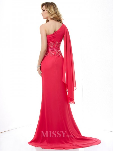 Sheath One-Shoulder Chiffon Sweep Train Evening Dress With Beading