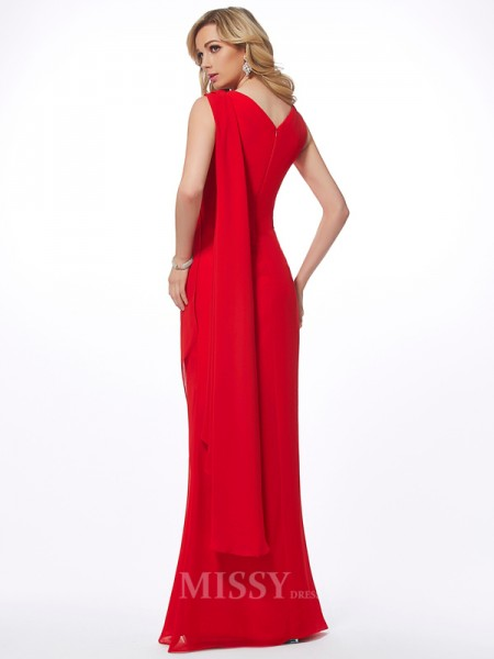 Sheath Straps Floor-Length Chiffon Evening Dress With Applique