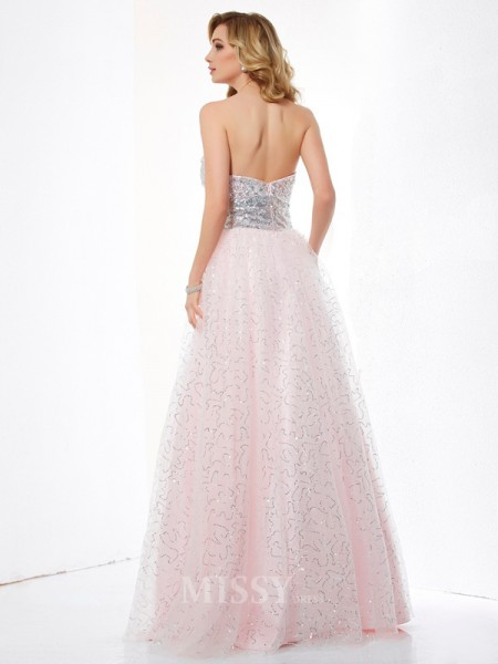 Ball Gown Sweetheart Satin Floor-Length Evening Dress With Beading
