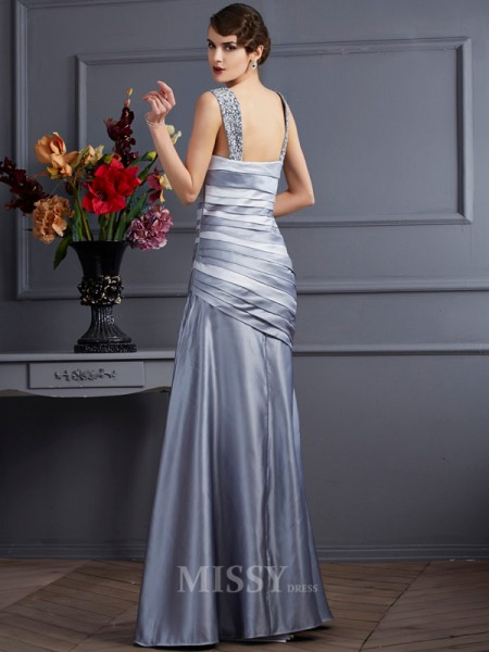 Mermaid Straps Pleats Floor-Length Satin Evening Dress With Sash