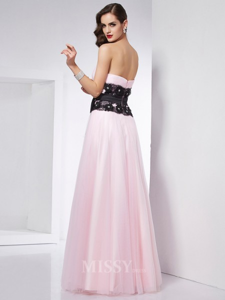 A-Line Sweetheart Floor-Length Lace Satin Evening Dress With Rhinestone