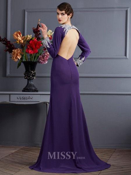 Sheath Long Sleeves V-neck Chiffon Sweep Train Evening Dress With Ruffles
