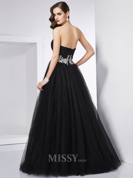 Ball Gown Sweetheart Net Floor-Length Evening Dress With Rhinestone Applique