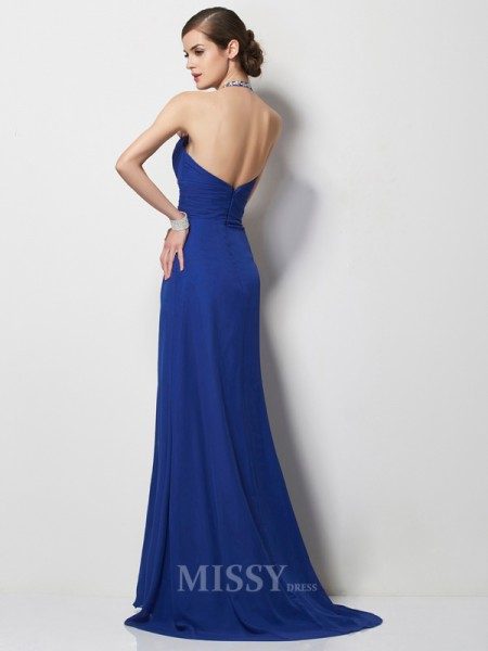 A-Line Halter Sweep Train Chiffon Evening Dress With Ruched
