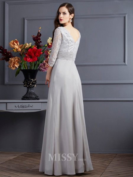 A-Line Chiffon V-neck 3/4 Sleeves Floor-Length Evening Dress With Ruffles Applique