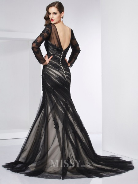 Mermaid Jewel Long Sleeves Sweep Train Satin Evening Dress With Beading Applique