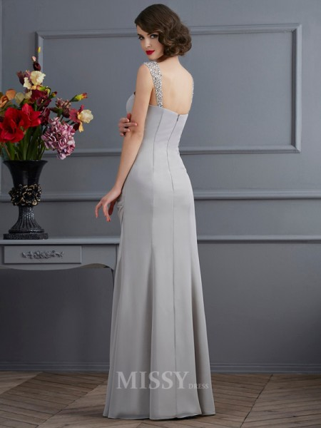 Mermaid Straps Chiffon Floor-Length Evening Dress With Beading