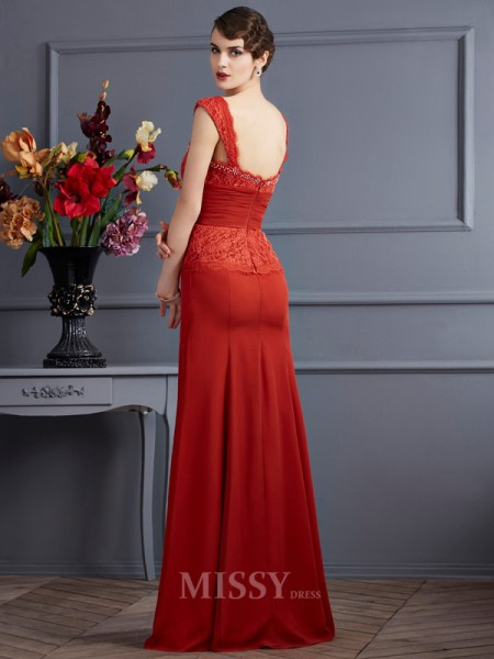 Sheath Chiffon Straps Floor-Length Evening Dress With Beading