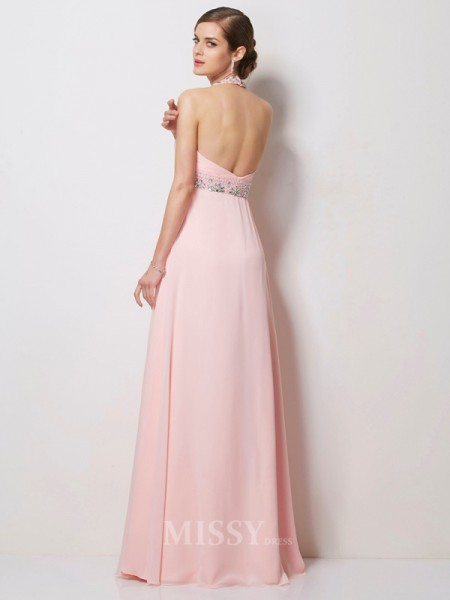A-Line Halter Floor-Length Chiffon Evening Dress With Sash
