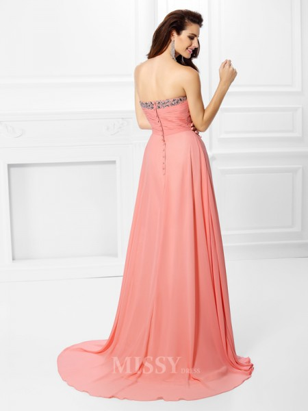A-Line/Princess Sweetheart Sweep/Brush Train Chiffon Dress With Pleats