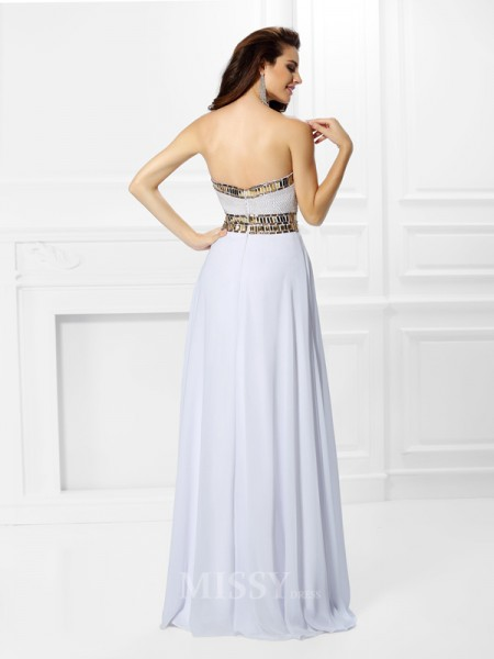 Empire Sweetheart Floor-Length Chiffon Dress With Sash Pleats