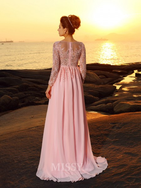 A-Line/Princess Long Sleeves Bateau Sweep/Brush Train Chiffon Beading Dress With Sash