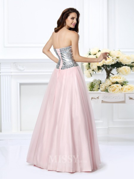 Ball Gown Sweetheart Floor-Length Satin Dress With Ruffles Beading