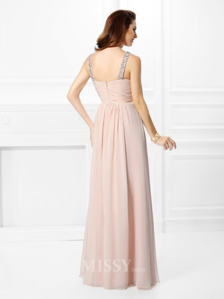 A-Line/Princess Straps Floor-Length Chiffon Dress With Applique Beading