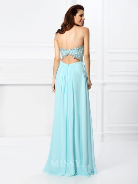A-Line/Princess Sweetheart Beading Floor-Length Chiffon Dress With Ruched