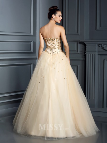 Ball Gown Sweetheart Floor-Length Satin Prom Dress With Ruched Beading
