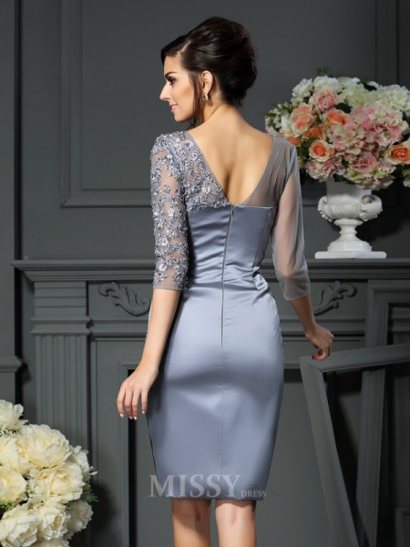 Sheath/Column Scoop Beading 1/2 Sleeves Knee-Length Satin Mother Of The Bride Dress With Beading