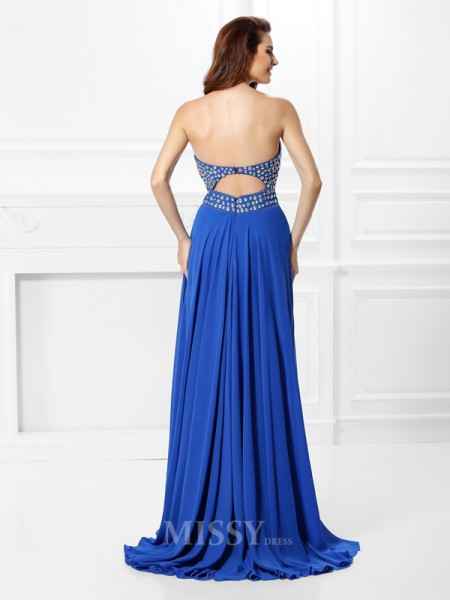 A-Line/Princess V-neck Floor-Length Chiffon Dress With Lace Beading