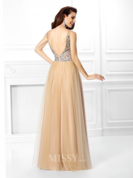 Ball Gown V-nec Sequin Floor-Length Satin Dress With Embroidery