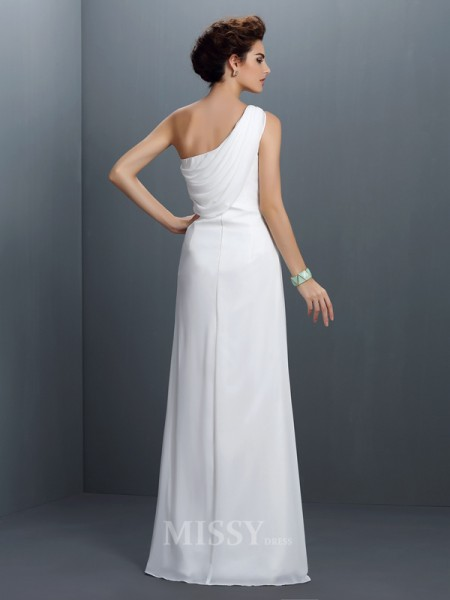 Sheath/Column One-Shoulder Floor-Length Chiffon Dress With Embroidery