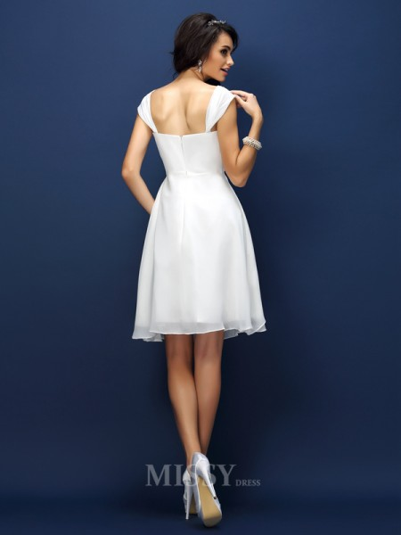 A-Line/Princess Straps Short/Mini Chiffon Bridesmaid Dress With Pleats
