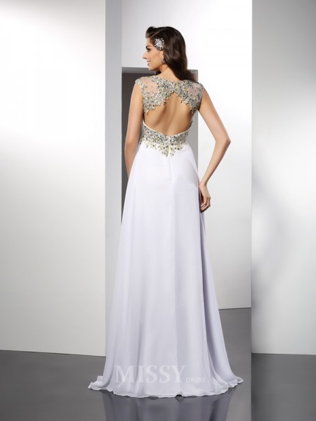 A-Line/Princess Bateau Floor-Length Chiffon Dress With Sash
