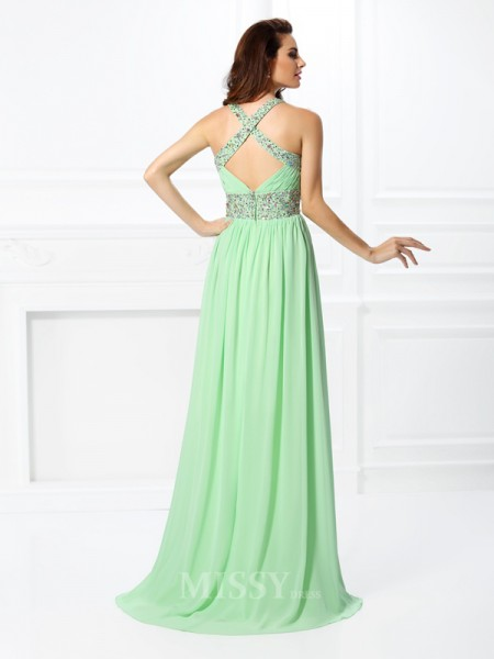 A-Line/Princess V-neck Floor-Length Chiffon Dress With Pleats Beading