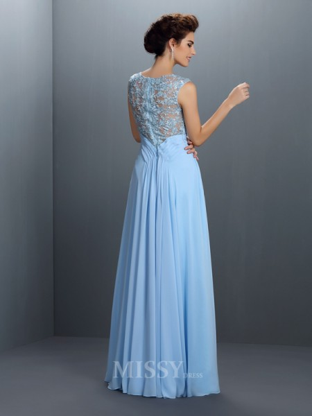 A-Line/Princess Bateau Floor-Length Chiffon Dress With Ruffles