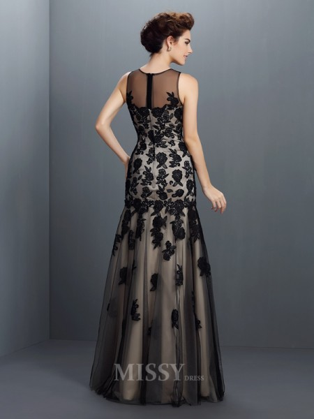 A-Line/Princess Bateau Floor-Length Satin Dress With Rhinestone Applique