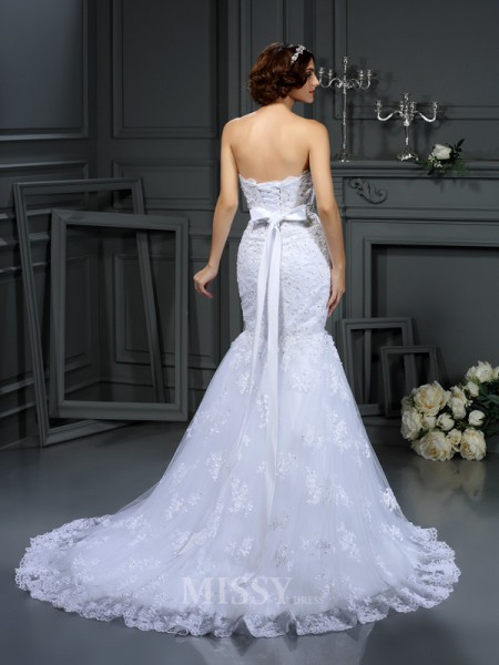 Trumpet/Mermaid Strapless Lace Court Train Wedding Dress With Pleats
