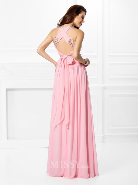 A-Line/Princess Straps Floor-Length Chiffon Dress With Lace Beading