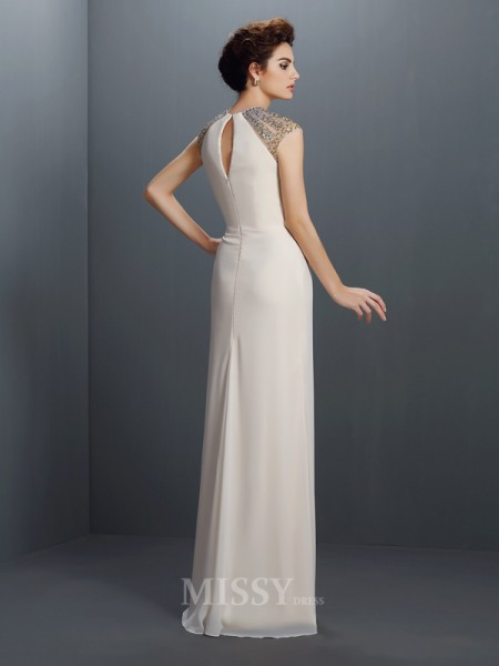 A-Line/Princess Jewel Floor-Length Chiffon Dress With Rhinestone