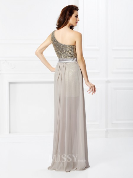 A-Line/Princess One-Shoulder Sequin Floor-Length Chiffon Dress With Pleats