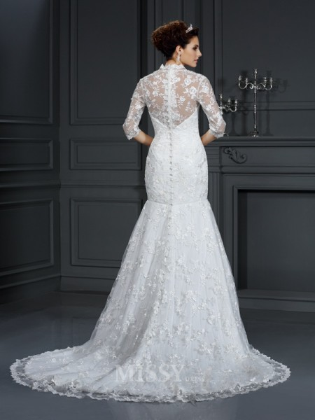 Trumpet/Mermaid V-neck 1/2 Sleeves Court Train Lace Wedding Dress With Applique