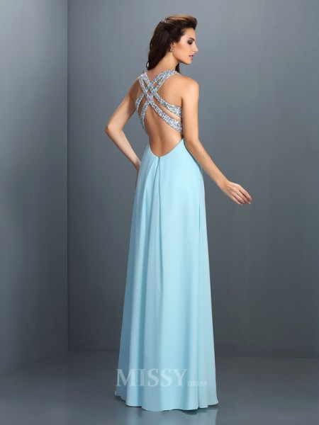 A-Line/Princess Straps Floor-Length Chiffon Dress With Sash