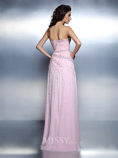A-Line/Princess Sweetheart Beading Floor-Length Chiffon Dress With Ruffles