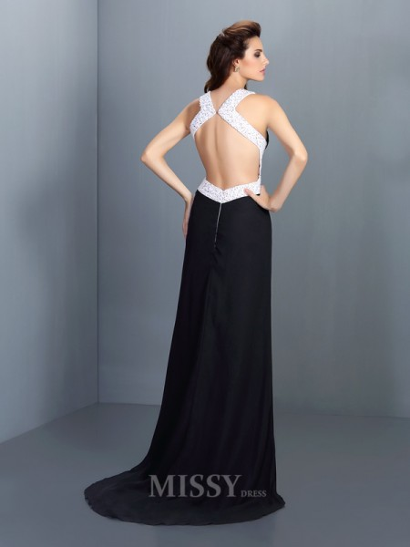 A-Line/Princess High Neck Sweep/Brush Train Chiffon Dress With Beading