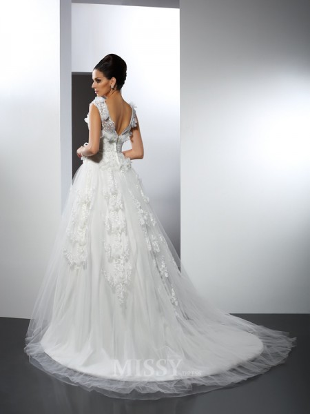 A-Line/Princess Straps Lace Cathedral Train Satin Wedding Dress With Ruched