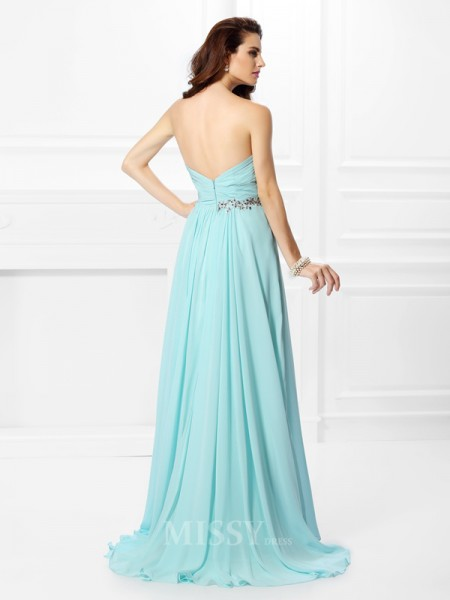A-Line/Princess Sweetheart Floor-Length Chiffon Dress With Beading