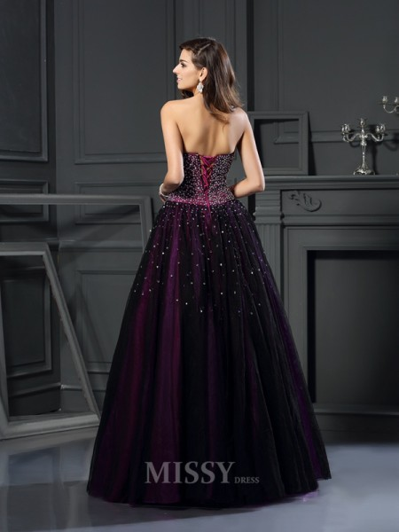 Ball Gown Sweetheart Beading Floor-Length Satin Dress With Applique