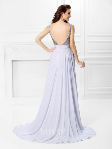 A-Line/Princess Straps Floor-Length Chiffon Dress With Ruched Pleats