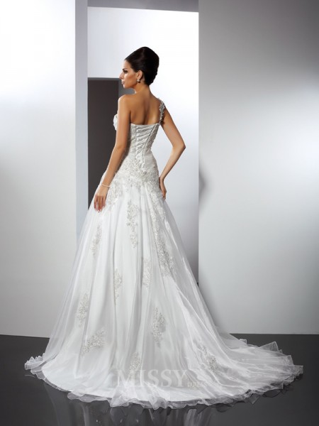 A-Line/Princess One-Shoulder Chapel Train Satin Wedding Dress With Lace Applique