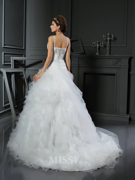 Ball Gown V-neck Court Train Organza Wedding Dress With Embroidery Ruffles