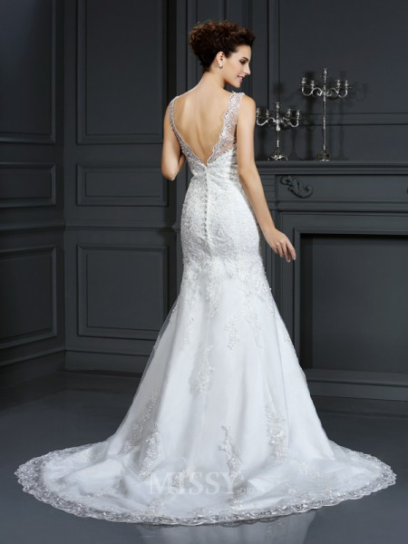 Sheath/Column Bateau Court Train Lace Satin Wedding Dress With Pleats