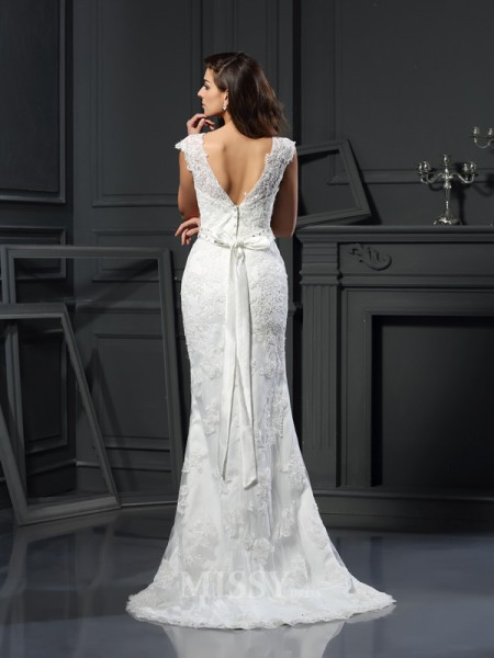 Trumpet/Mermaid Bateau Satin Lace Court Train Wedding Dress With Beading
