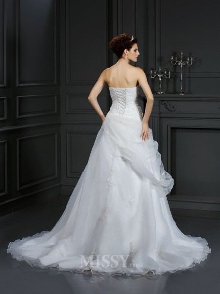Ball Gown Sweetheart Court Train Organza Wedding Dress With Lace