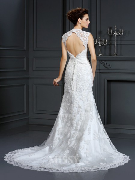 Sheath/Column V-neck Sweep/Brush Train Lace Wedding Dress With Pleats