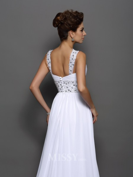 A-Line/Princess Chiffon Straps Court Train Wedding Gown With Sash